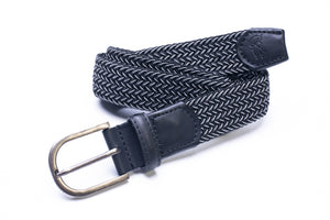 Elasticated Woven Belt in Black and Grey