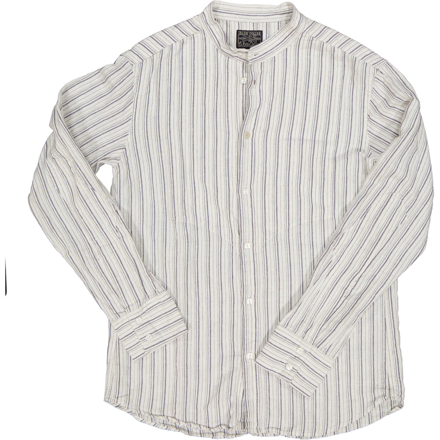 Mens Striped Mandarin Collar Shirt- White