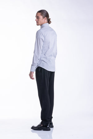 Geometric Tab Collar Shirt in White