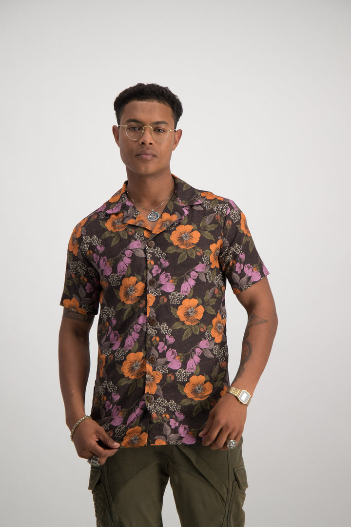 Poppy Bowling Shirt - Brown