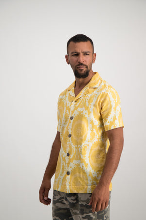 Ikat Retro Bowling Shirt - Yellow