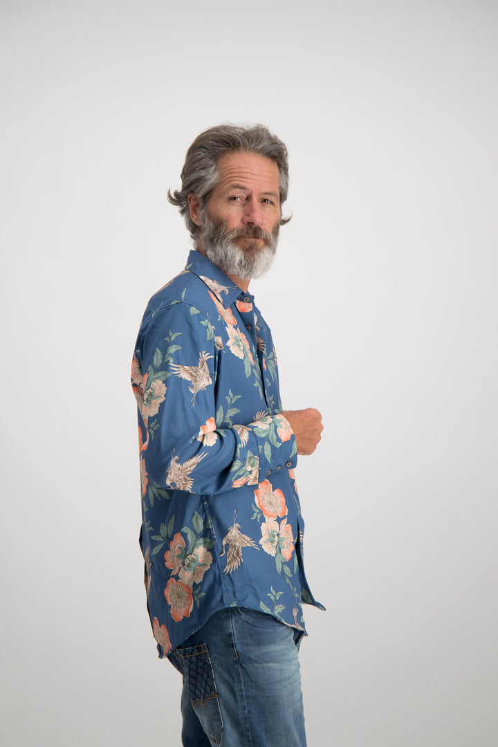 Oriental Bird Shirt - Blue
