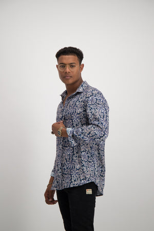 Watercolour Floral Shirt - Blue