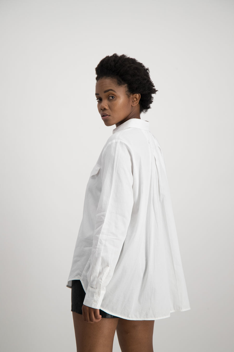 Ladies Pleated Back Shirt - White