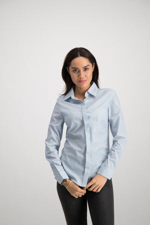 Ladies Striped Jacquard Boss Shirt - White