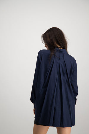Ladies Pleated Back Shirt - Navy