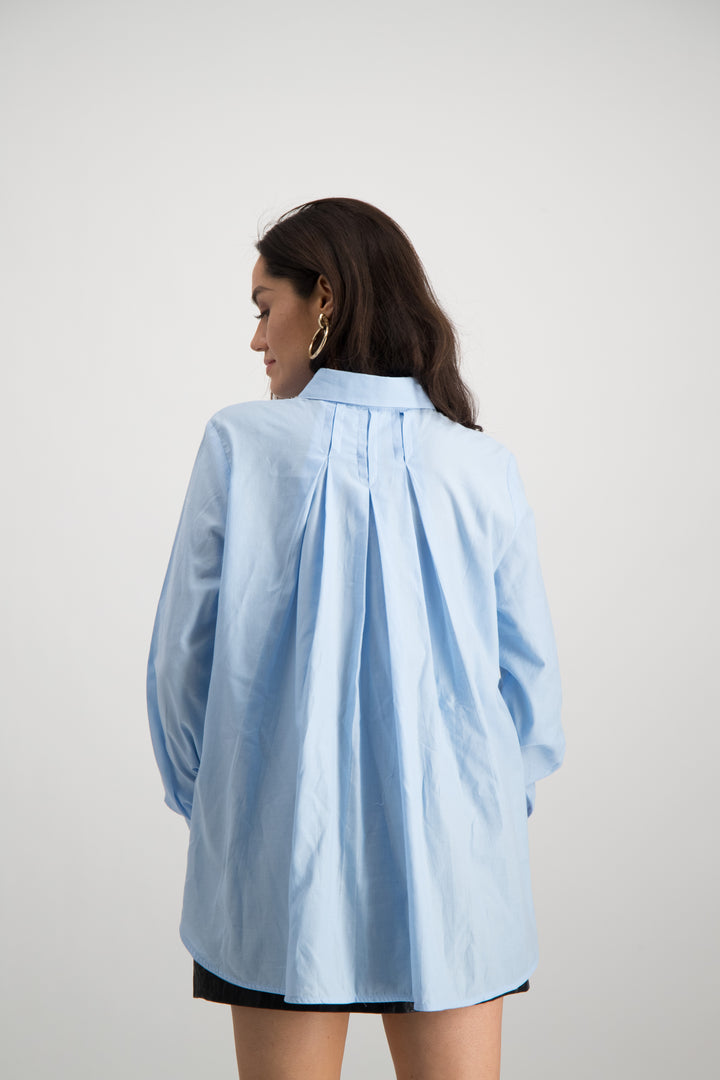 Ladies Pleated Back Shirt - Pale Blue