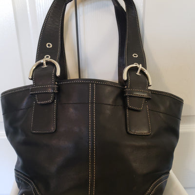 Coach Black Soft Leather Tote
