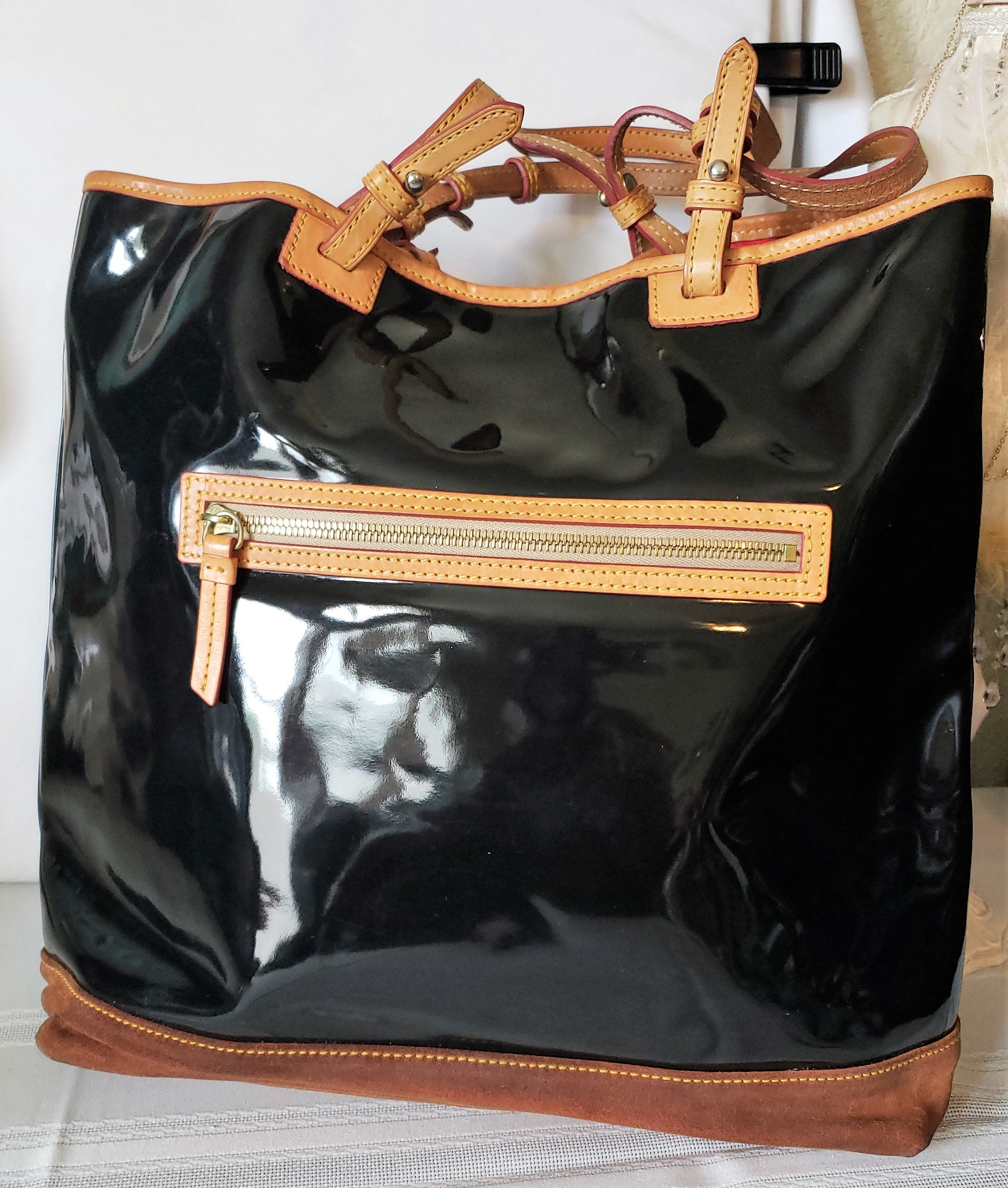 Dooney & Bourke Large Black Vinyl & Brown Suede Tote