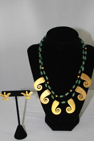 Pre-Columbian Reproducation Jewelry Set by L.A. CANO