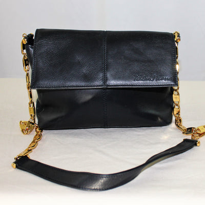 Vintage Paloma Picasso Gold Chain Black Leather Purse