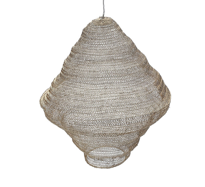 Large Silver Knitted Wire Lampshade - NEW