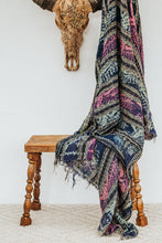 Load image into Gallery viewer, Boho patterned tassled throw in blue