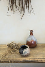 Load image into Gallery viewer, Rustic unglazed charcoal dusky pink and white pottery vase