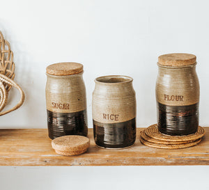 Vintage pottery sugar, rice and flour storage jars with cork lid