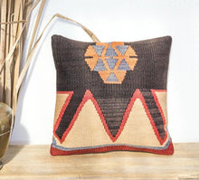 Load image into Gallery viewer, Boho vintage Turkish wool kilim cushion in black, tan and ivory