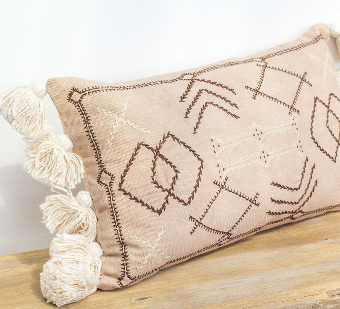 Boho biege coloured embroidered cotton cushion with tassles