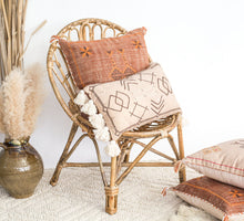 Load image into Gallery viewer, Boho rust coloured embroidered linen cushion with tassles