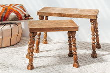 Load image into Gallery viewer, Vintage handmade oak stool or small table with turned legs