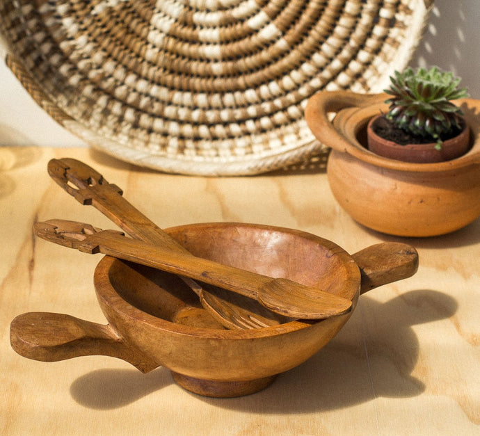 Vintage boho solid handcarved small wooden serving dish with tribal carved servers