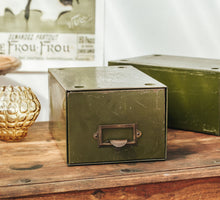 Load image into Gallery viewer, Vintage industrial metal filing drawer