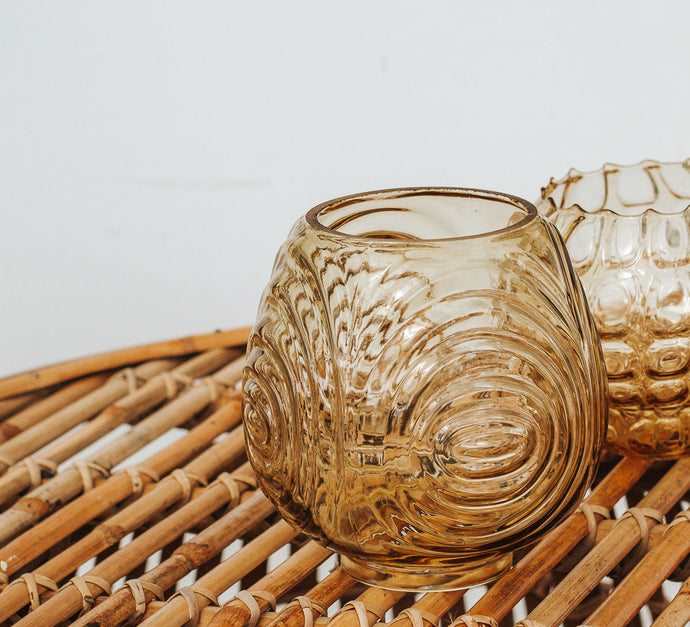 Vintage boho amber glass lightshade candle holder