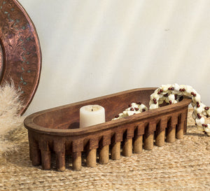 Vintage Wooden Pacific Island Serving dish with legs
