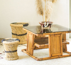 Vintage boho bamboo cane pacifica style square coffee table