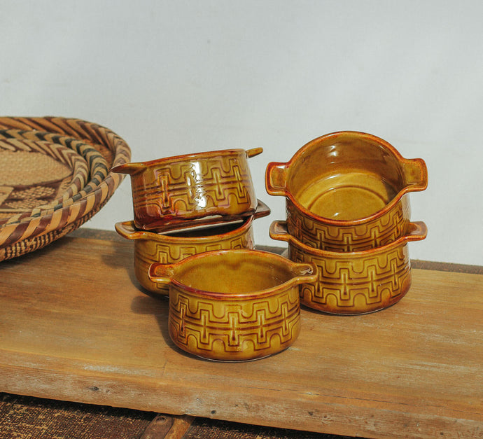 vintage crown lynn honeygold glazed soupl bowls
