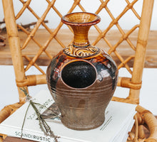 Load image into Gallery viewer, Vintage boho rustic glazed pottery vase in chocolate and burnt caramel