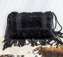 Load image into Gallery viewer, Black wool and cotton oblong tassled boho cushion