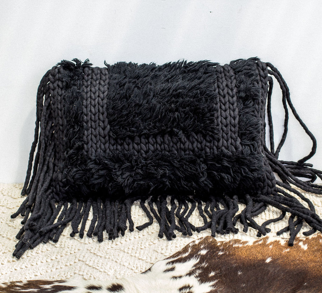 Black wool and cotton oblong tassled boho cushion