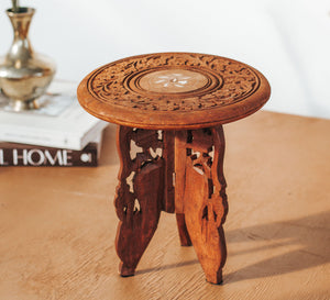 Vintage mini carved side table plantstand