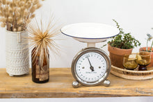 Load image into Gallery viewer, White and silver vintage kitchen scales