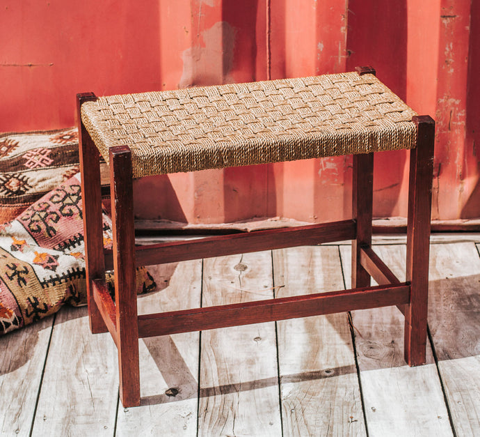 Vintage woven seagrass bench seat