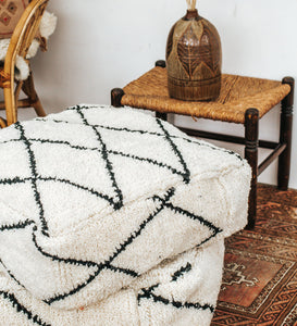 Vintage Beni Ourain Wool Floor Cushion