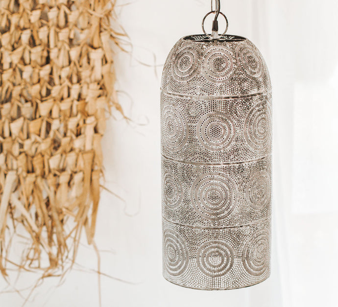 Boho  punched metal pendant light