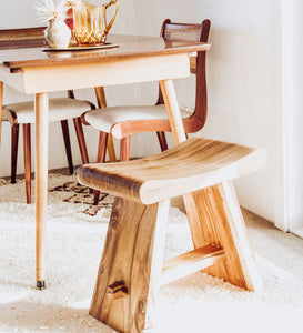 Suar Wood curved bench seat stool