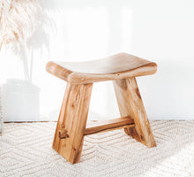 Load image into Gallery viewer, Suar Wood curved bench seat stool