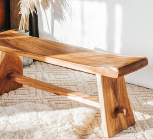 Suar wood curved bench seat