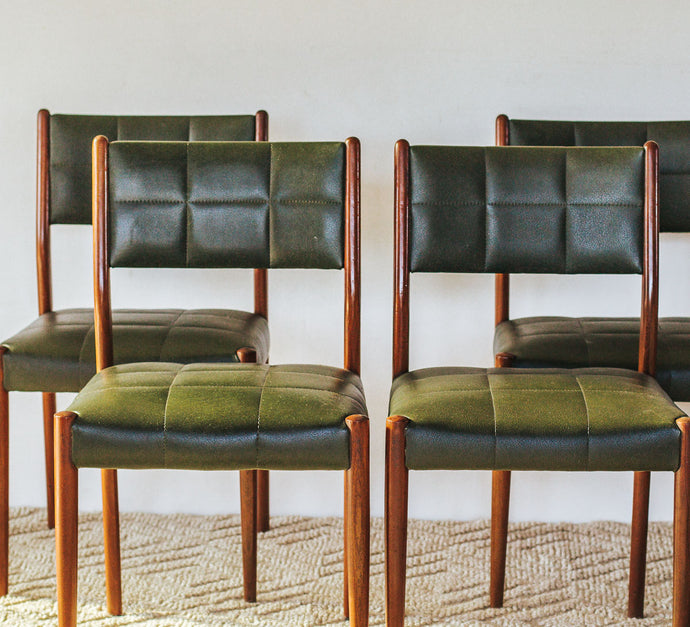 Set of Vintage Mid Century Vinyl and wood vinyl dining chairs