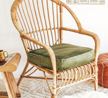 Load image into Gallery viewer, Boho Vintage cane armchair with green velvet cushion