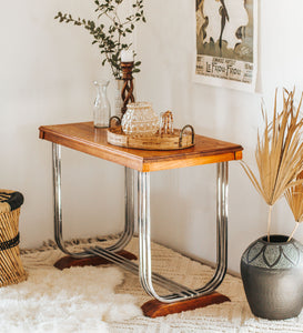Vintage Art Deco oak hall table
