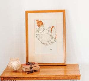 Vintage Egon Schiele print - Girl in red stockings