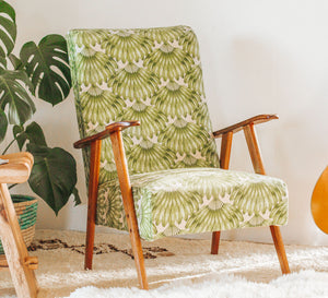 Boho vintage Mid Century armchair covered with modern fabric