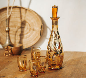 Vintage Bohemia Gold gass decanter and 5 glasses