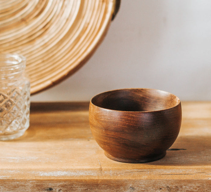 Vintage wooden pesto bowl