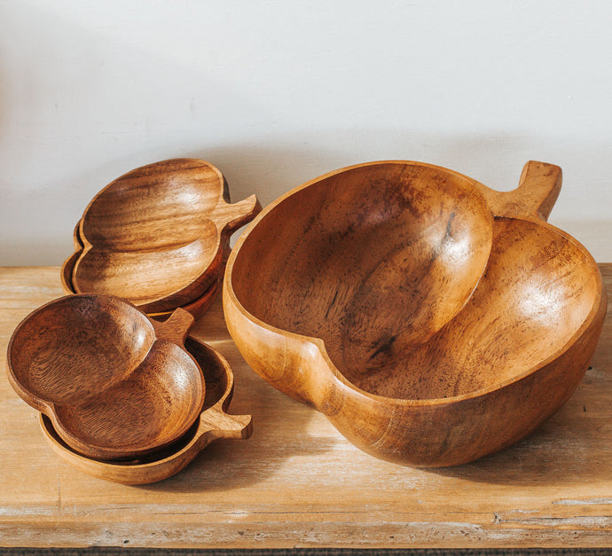 Vintage Monkeypod apple shaped salad bowls and side bowls