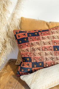 Boho kilim cushion with apricot rose and midnight blue colours