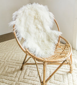Tibetan sheepskin ivory bamboo chair